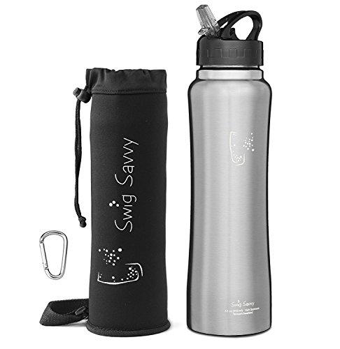 SWIG SAVVY Edelstahl Isolierte Wasserflasche Breiter Mund Große Kapazität Doppelwand Design mit Lecksicherem Flip Top Strohhalmverschluss - Inklusive Wasser Flaschen Beutel & Clip 32Oz Stahl