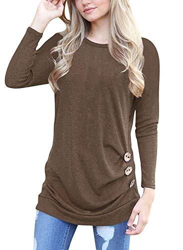 Mujer Camiseta Básica Sudadera Manga Larga Cuello Redondo Blusa Túnica Tops Casual T-Shirt Marrón L