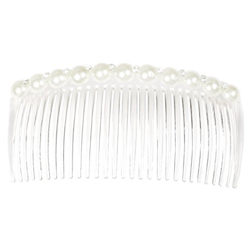 Sourcingmap Fausse Perle Strass Ornement Lady Pince à cheveux, Blanc