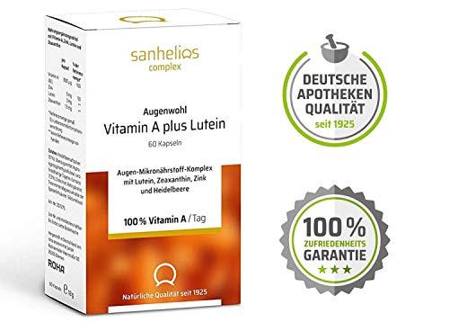 Augenwohl Vitamin A plus Lutein Augen-Mikronährstoff-Komplex mit 100% Vitamin A Lutein Zeaxanthin Zink Natürliche Qualität seit 1925 Hergestellt in Deutschland 60 Kapseln - Zeaxanthin Auge