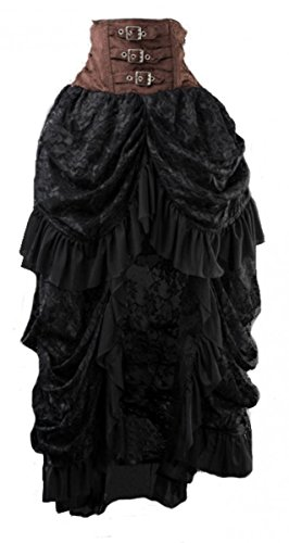 Dark Dreams Gothic Steampunk Bustle Skirt Rock Neo Victorian gerafft Buckles schwarz braun, - Bustle Skirt Kostüm