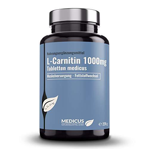 L-Carnitin 1000 mg Tabletten: medicus, hochdosierte Nahrungsergänzung, Fatburner/Fettverbrenner, gesunder Stoffwechsel, vegan, 120 Tabletten