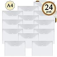 A4 Plastic Wallet Folder Envelope - 24Pcs Clear Document Folder Files Popper,Waterproof Storage Wallet Envelope Folders with Button- by YANGTE