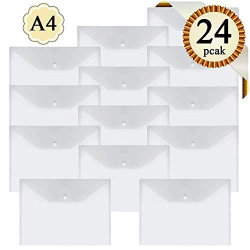 Busta per cartelle di plastica A4 - 24Pcs Cartelline Trasparenti Cartellina Porta Documenti con Bottone ,Cartellette pulsante file organizer per casa ufficio scuola documenti