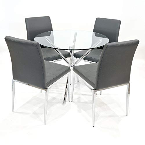 Febland 90cm Round Glass Criss Cross Table With Four Alberta Dining Chairs, Chrome, Grey, One Size