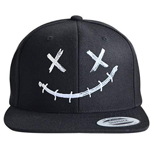 ** Snapback ** | Coole Cap für Herren und Damen | Smiley Motiv | Basecap hochwertig Bestickt | Flexfit Caps (Black/Black)