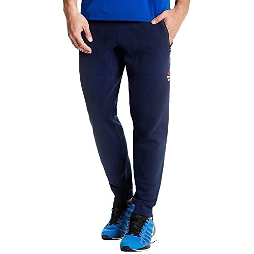 Reebok Cross Training Forro Polar Pantalón de chándal para hombre, azul oscuro