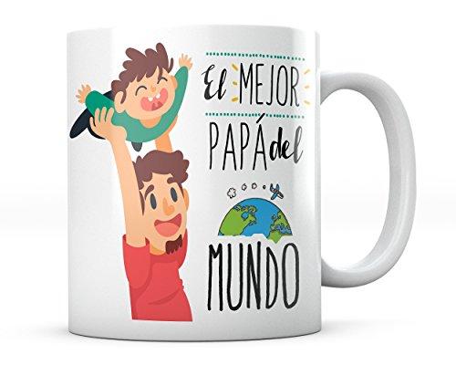 Taza El Mejor Papá del Mundo Dibujo Niño Frase Día del Padre Desayuno Café