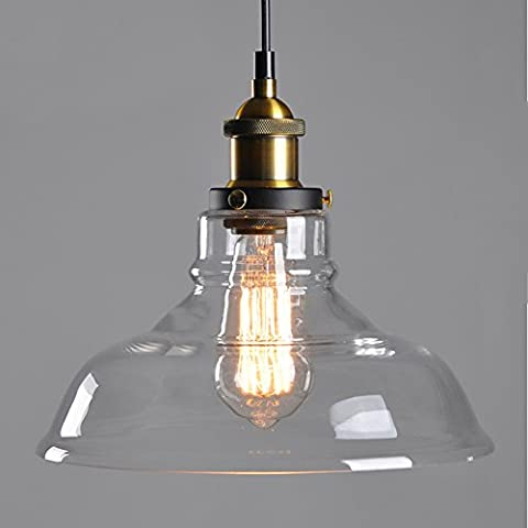 Vintage Retro Clear Glass Shade 40W Ceiling Chandelier Pendant Lamp Light E27 Edison Bulbs 220V Home Indoor Decorative Bulbs
