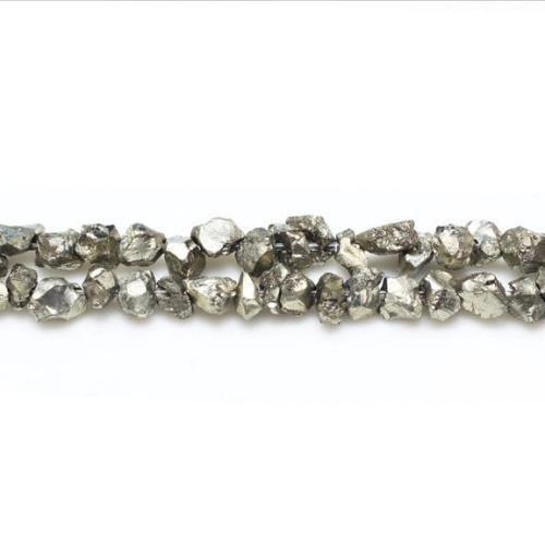Charming beads filo 120+ oro pallido pirite 3-4mm chips tagliato a mano perline gs16271