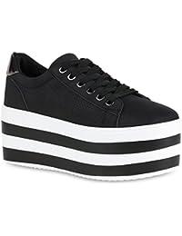 Stiefelparadies Damen Plateau Sneaker Metallic Lack Schuhe High Heel  Plateauschuhe Flandell 0118648e40