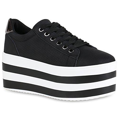 Damen Plateau Sneaker Metallic Lack Schuhe High Heel Plateauschuhe 155481 Schwarz 40 Flandell