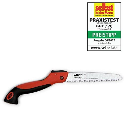Klappsäge Gartensäge Baumsäge Handsäge Astsäge Holzsäge MADEIRA 180.1, Sicherheitsstopp, rutschfester Handgriff, beste Gärtner-Qualität
