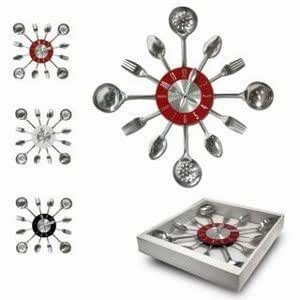 pendule horloge en inox murale pour decoration de cuisine design deco fourchette couteaux et. Black Bedroom Furniture Sets. Home Design Ideas