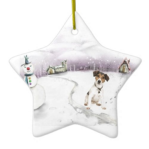 Christmas Ornaments Holiday Tree Ornament Jack Russell Terrier Both Sides Star Ceramic Ornament Crafts Christmas Gifts