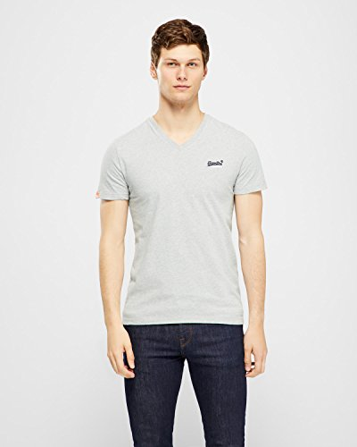 Superdry Herren T-Shirt Orange Label Vintage Emb Vee T Grau