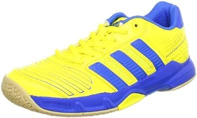 adidas Court Stabil 2 xJ, Chaussures de sport d'intérieur mixte enfant - Jaune - Yellow - Gelb (Vivid Yellow S13/Prime Blue S12/Gum 3), 34