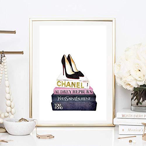 Din A4 Kunstdruck Chanel Laurent Hepburn Magazine Pumps Schuhe High Heels Mode Fashion Aquarell...