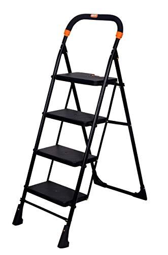 Magna Homewares Pollux 4 Steps Folding Ladder (Black, Large)