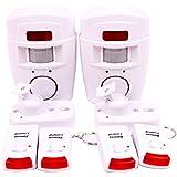 Alarma del sensor de movimiento de casa WER alarma hogar de movimiento + 2 mandos a distancia (No incluidas pilas)