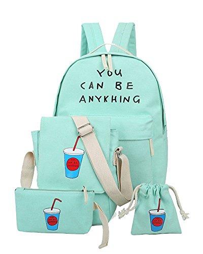 Imagen de yilianda niña bolsa de lona moda set de 4 piezas  + bolso de bandolera + billetera + pequeño bolsillo  mujer para escolar verde