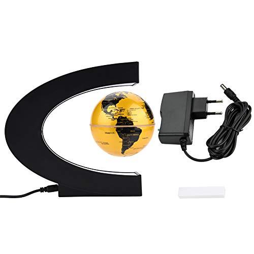yuyte 3 Inch Globo Flotante de Levitación Magnética, Mapa Giratorio de Levitación C- Forma, Mapa de Mundial Rotativo con LED para Educacion y Decoración y Oficina y Hogar(De Oro)