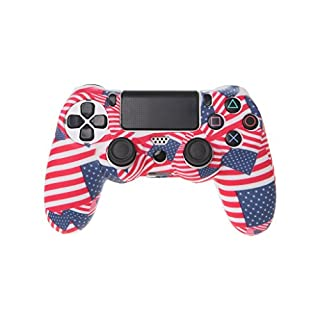 YoungerY (1pc PS4 Silicone Case Cover Controller Anti-Slip Set - American Flag