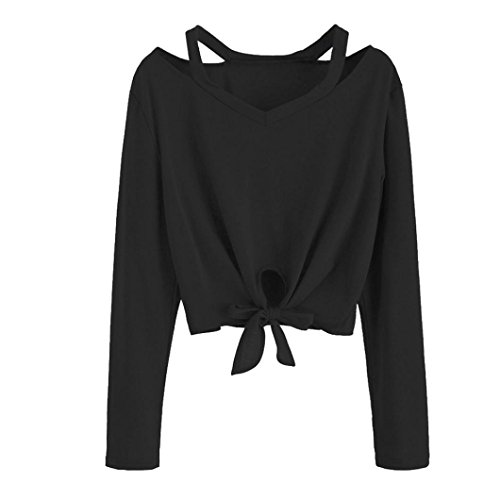 YunYoud Mode Frau Hemd Damen Bowknot Tops Lange Ärmel Aushöhlen V-Ausschnitt Bluse Einfarbig Beiläufig T-Shirt Reizvoller schöne blusen (M, Schwarz) (Weste Scoop Neck Pullover)