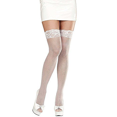 LACE TOP FISHNET THIGH HIGHS (XL) - WHITE (Thigh Fishnet Top Lace Highs)