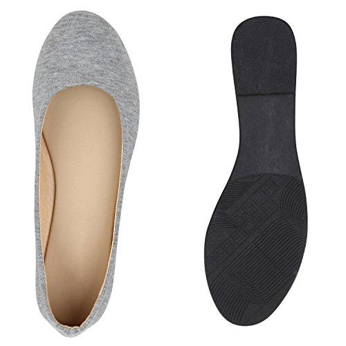 Bequeme Damen Ballerinas Slipper Flats Lederoptik Schuhe Grau Schwarz