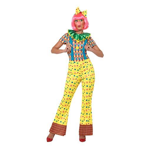 NET TOYS Clown-Kostüm für Damen | Größe S (34/36) | Extravagantes Frauen-Outfit Zirkus Harlekin | Wie geschaffen für Fasching & Karneval