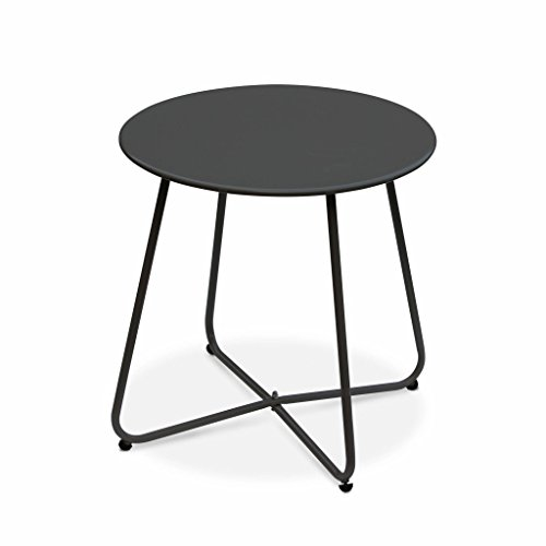 Alice's Garden - Table Basse Ronde – Cecilia Gris Anthracite – Table d'appoint Ronde Ø45cm, Acier thermolaqué.