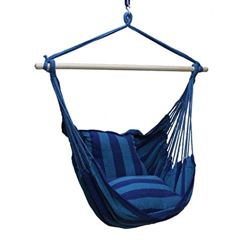 Fauteuil suspendu polyvalent pour intérieur ou extérieur - Portable, tissu à rayures, pour les loisirs, le camping, un balcon bleu