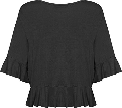 WearAll - Cardigan court à volants avec un noeud pour attacher - Cardigans - Femmes - Grandes tailles 40 à 54 Noir