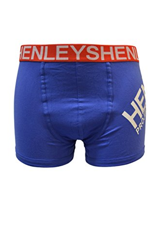 Henley Project Herren Baumwolle Torsoboxershorts/Trunks (3er Pack) Blaue Streifen
