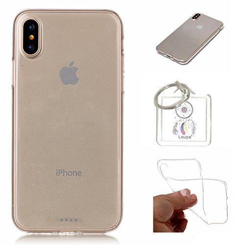 Hülle iPhone X Hülle Soft Flex Transparent Silikon TPU Handyhülle Schutzhülle für iPhone X Case Cover - Crystal Clear + Schlüsselanhänger (P) (1)
