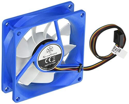 SilverStone SST-FW81 - FW Serie geräuscharmer 80 mm-Hochleistungs-PWM-Lüfter mit Anti-Vibrations-Zubehör, blau-weiss -