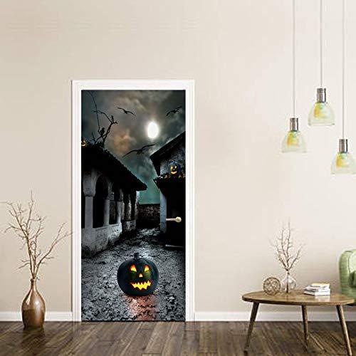 RENZHAO Türaufkleber Halloween 3D Wallpaper Wandaufkleber DIY Schlafzimmer Wohnzimmer Abnehmbare wasserdichte Tür Dekoration 77 * 200cm (Halloween Wallpaper 3d De)