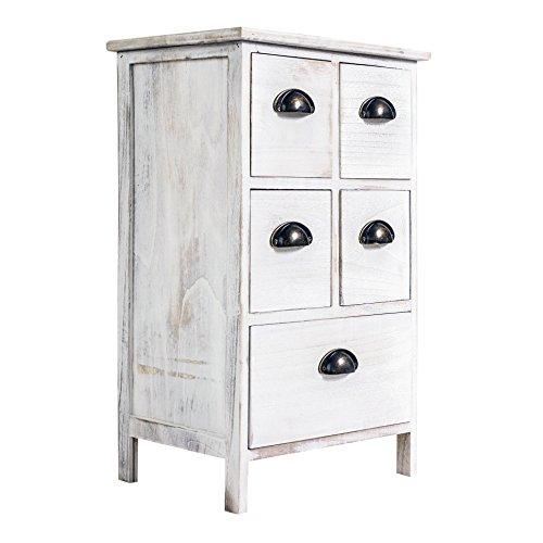 Rebecca srl comodino cassettiera 5 cassetti legno paulownia bianco vintage shabby chic camera da letto bagno (cod. x-1578)