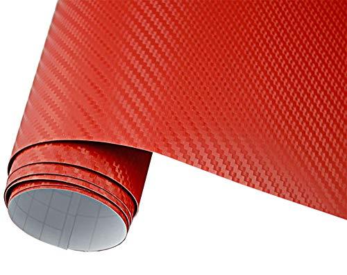 Neoxxim 4€/m² Auto Folie Carbon Folie 3D Carbonfolie ROT - 50 x 150 cm blasenfrei Klebefolie Dekor