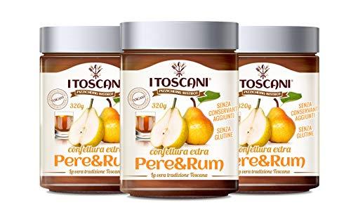 Confettura extra di Pere e Rum 3 confezioni da 320 g - i Toscani. Senza GLUTINE, senza CONSERVANTI aggiunti, italia