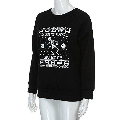 Blusen,Chshe Frauen Schädel Print - Bluse Mit Langen ärmel Sweatshirts Basic - Shirt Schwarz