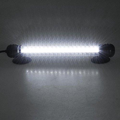 Mingdak LED Aquarium-Licht-Kit für Aquarium, Unterwasser-Tauchkristallglas-Leuchten, geeignet für Salzwasser und Süßwasser, 18 Leds, 7,5-Zoll, Beleuchtungsfarbe Weiß -
