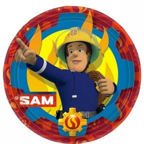amscan- Anime Assiette en Carton Sam Le Pompier, 9902175, 23 cm