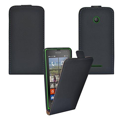 iProtect Microsoft Lumia 532 Kunstleder Flip Case Schutzhülle schwarz