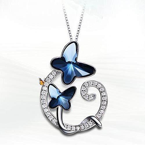 WHX Halskette Damen, S925 Sterling Silber Damen Schmetterlingskette Elemental Crystal Artikel Kettenlänge 40cm * 5cm Geeignet für alle Gelegenheite