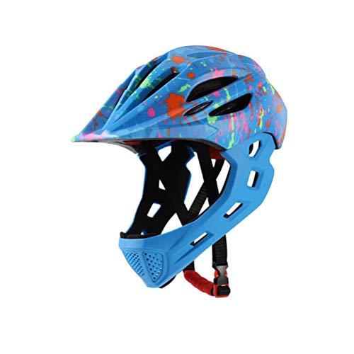 CCFCF Fullface-Helm Für Kinder, Kinderhelm Mit Kinnschutz, Fahrradhelm Für Mädchen Und Jungen Im Alter Von 3-13 Jahren, Passt Kopfgröße 43-54CM,O