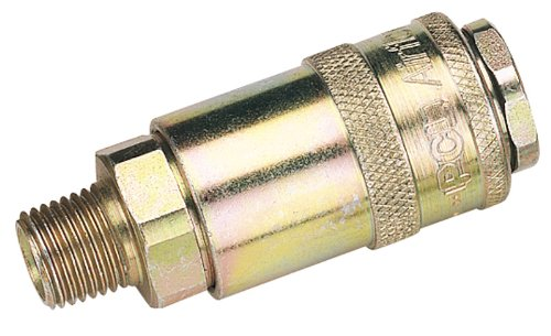 1/10,2 cm filetage mâle PCL COUPLAGE AIR CONIQUE (vendu en vrac) – pour une utilisation avec des adaptateurs standard. BSP. En Parallèle Avec simple action de verrouillage convient parfaitement pour la plupart des applications Air Comprimé. Air maximal 1197L taux/min (42cfm) à 6.9BAR (100 psi) pression maximale de fonctionnement 13.8bar (200psi). Vendu en vrac.