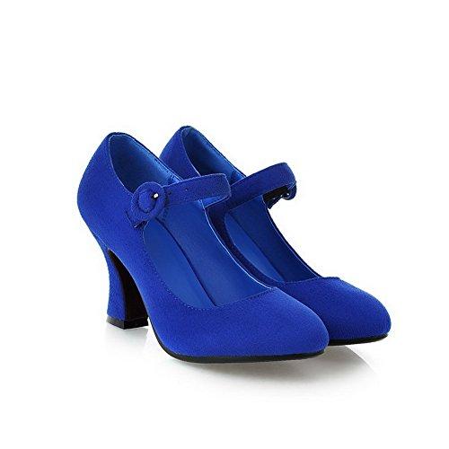AllhqFashion Femme Couleur Unie Dépolissement Boucle Rond Chaussures Légeres Bleu