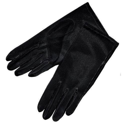 Handgelenk Länge Brauthandschuhe (ZaZa Braut-Handschuhe, durchsichtig, für das Handgelenk, Länge 2BL - Schwarz - Einheitsgröße)